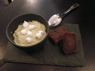 moelleux et crème matcha